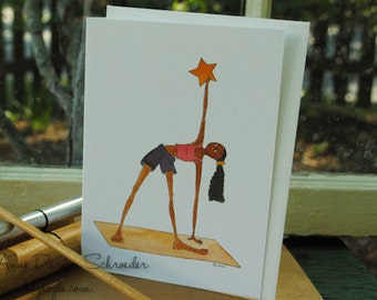 Black Yoga Girl Happy Birthday Card African American Greetings Whimsical BDay Your Day To Shine Greeting