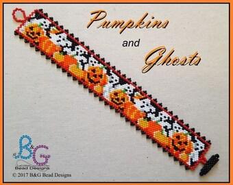 PUMPKINS and GHOSTS Peyote Cuff Bracelet Pattern