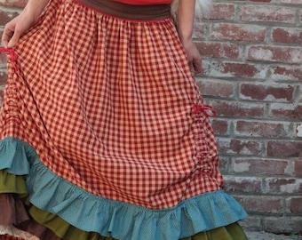 Maxi Long Amazing Cotton Skirt with Flounces