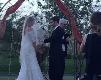 Wedding Veil Elegant Drop Veil Waltz Length Cut Edge pick your color,Bridal Veil, DV30X55CE