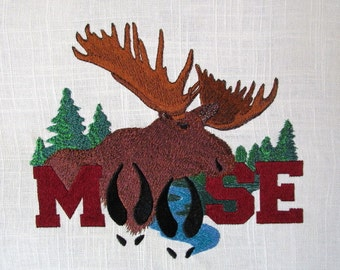 Large Linen Moose Embroidered Quilt Fabric Block