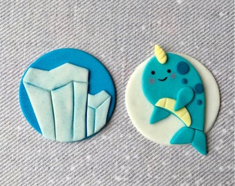 12 Narwhal and Iceberg Fondant Handmade Cupcake Toppers