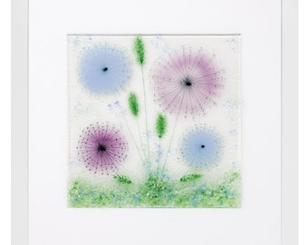 Fused Glass Blues and Purple Lilacs Meadow Flower Scene Presented in a Box Frame
