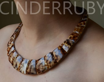 Leopard Shell Necklace,MOP Shell Necklace,Mother of Pearl Necklace,Party Statement Necklace