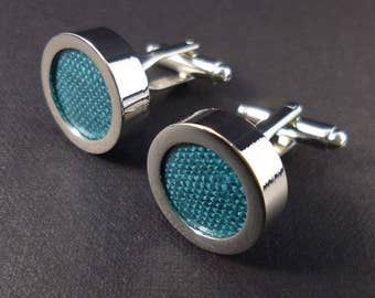Teal linen cufflinks - 12th or 4th anniversary gift for him – mens linen gift – blue green linen anniversary – mans accessory cuff links