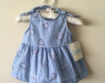 90s Carter's Floral Heart Print Chambray Dress with Matching Bloomers, Size 3 - 6 Months, New with Original Tags