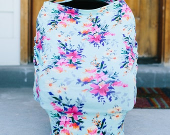 3-in-1 Stretchy Baby Nursing Cover, Car Seat Canopy, and Shopping Cart Cover (TEAL FLORAL)