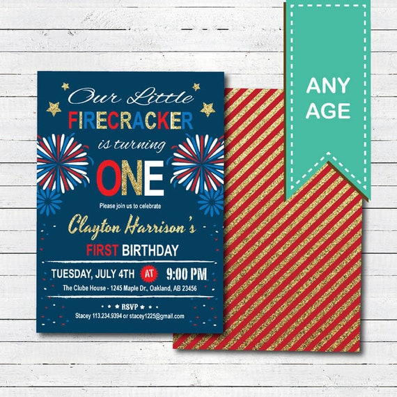 4th Of July Baby 1st First Birthday Invitation Independence