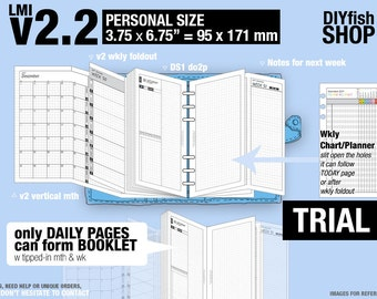 Trial [PERSONAL v2.2 w ds1 do2p] July to September 2018   - DIYfish Filofax Inserts Refills Printable Binder Planner Midori.