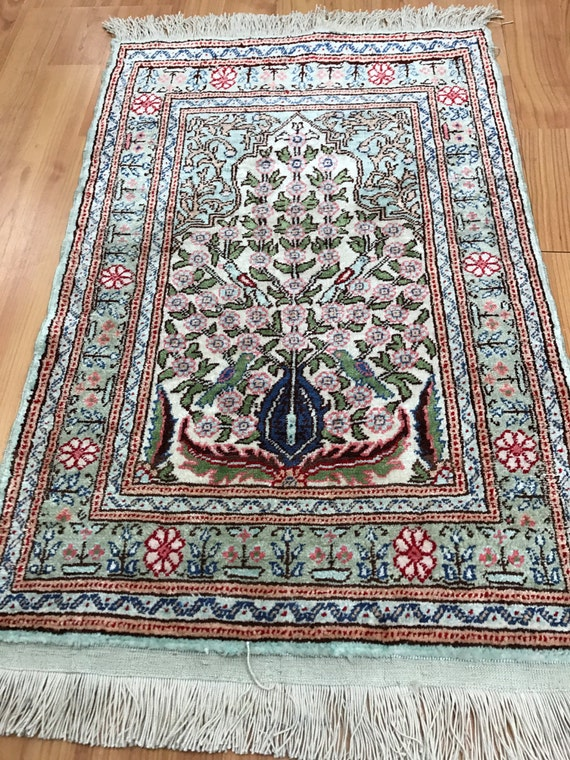 """1'4"""" x 2' Antique Turkish Hereke Oriental Rug - 1930s - Hand Made - 100% Silk"""