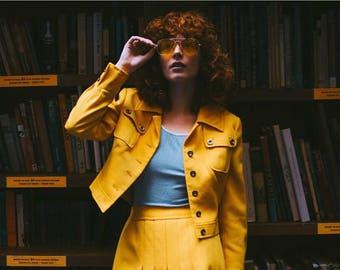 1960s Carnaby Street Mustard Yellow Jacket & Skirt Set
