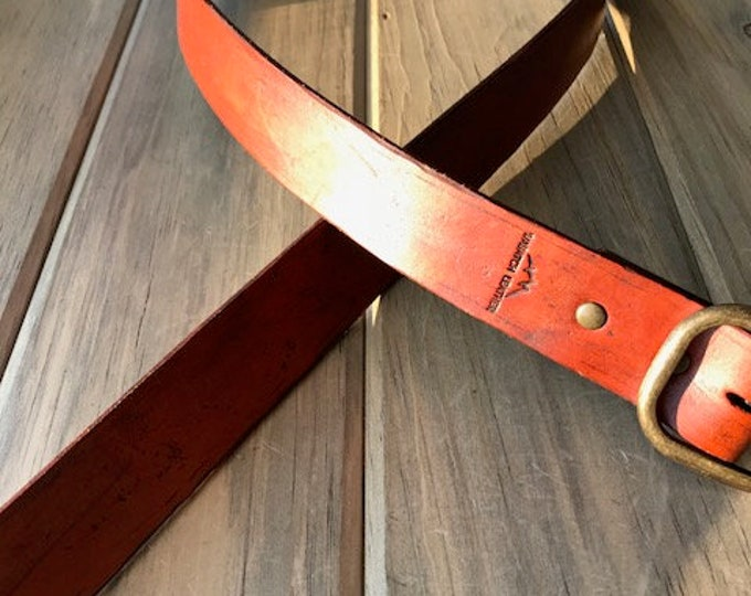 Rustic Weathered Leather Belt in Saddle Tan