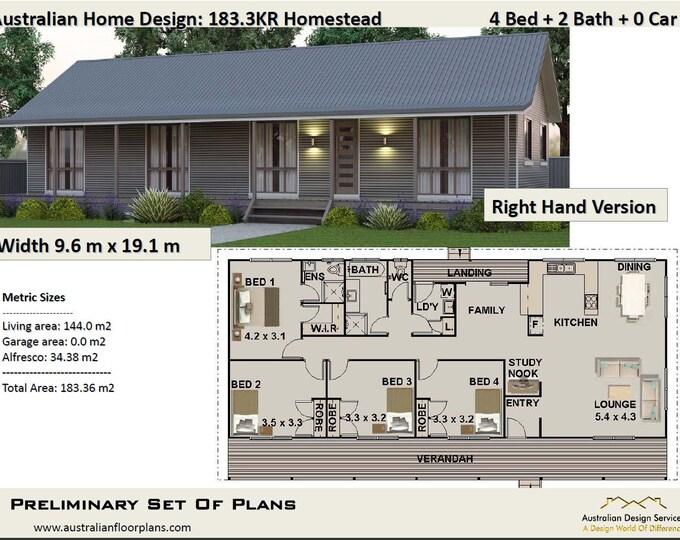 183m2 | 4 Bed | Acreage Home Plan 4 bed | Concept House Plans For Sale