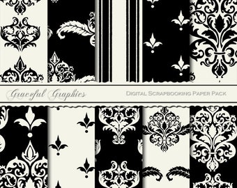 Scrapbook Paper Pack Digital Scrapbooking Background Papers DAMASK 10 Sheets 8.5 x 11 French BLACK and White 1405gg