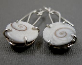 Operculum Drops - Sterling Silver and Shiv's Eye Shell Earrings