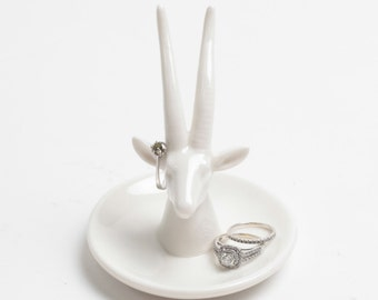 SALE - Animal Ring Holder - White Faux Gazelle Ring Dish - White Faux Taxidermy Jewelry Holder - Ceramic Jewelry Tray - Jewelry Organizer