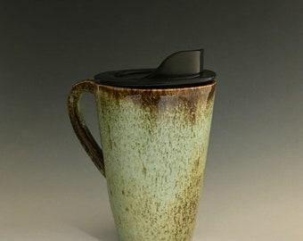 Handmade Ceramic Commuter Mug Turquoise Caramel Brown CM21
