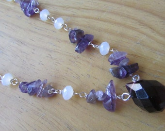 Amethyst Gemstone Chip Necklace with a Huge Faceted Teardrop Dark Amethyst Quartz Necklace