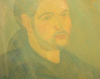 Vintage expressionist male portrait oil painting