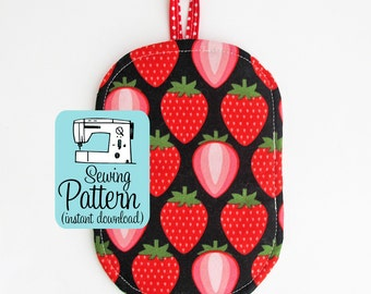 Just a Pinch Potholder PDF Sewing Pattern | Quick and easy beginner sewing project tutorial to make kitchen potholders.