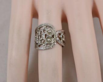 Silver Filigree Wraparound Ring Size 6 5.2g