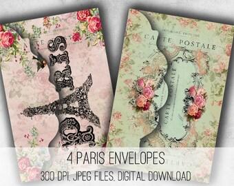 Paris Envelopes Digital Collage Sheet Download -1036- Digital Paper - Instant Download Printables