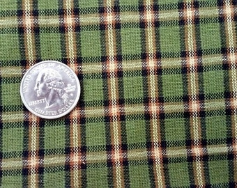 5 1/4 yards of GREEN PLAID COTTON Fabric