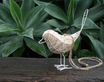 Native Bird Nester. Wire Bird with Llama Fibre Nesting Material, love birds, Gift for bride, Mother's Day Gift, Garden Gift Idea, Eco