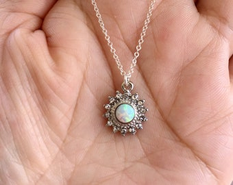 White Opal Sun Necklace. Silver Necklace. Opal Necklace.