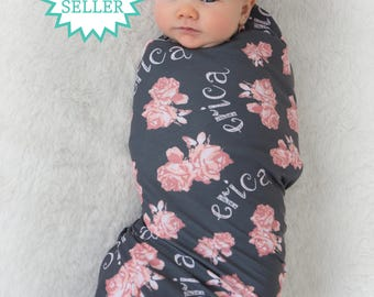 Personalized Swaddle Blanket with Floral Print // Vintage Floral // Gifts for Baby // Newborn Photo Prop // Best Swaddling Blanket