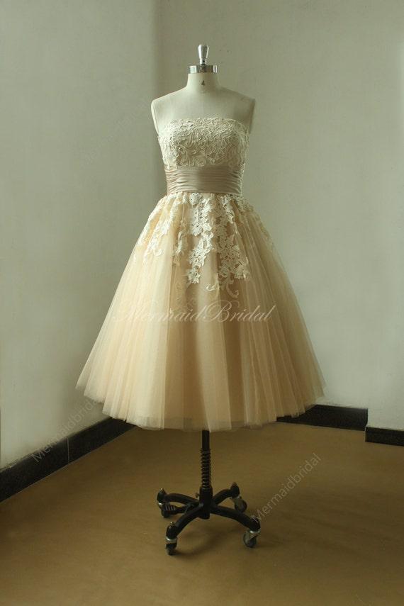 Champange tea lenghth ball gown vintage lace wedding dress