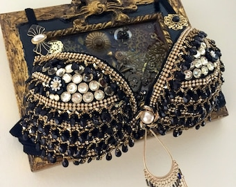 Black and Gold Gypsy Princess Rave Bra Festival Top