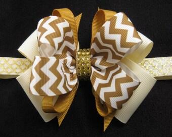 Christmas Wedding Flower Girl Ivory Gold Chevron Hair Bow Clip Barrette Headband
