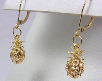 Solid 14K Yellow Gold Diamond Cut Pineapple Leverback Dangle Earrings, 2.1 grams