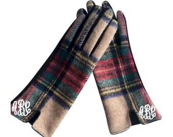 Designer-Look Touchscreen Gloves - CAMEL PLAID
