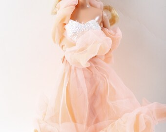 Peaches and Cream Barbie, Princess, Girl, Blonde, Blue Eyes, Pink Dress, Plastic, Doll, Toy, Children, Collection, Vintage ~ 170524
