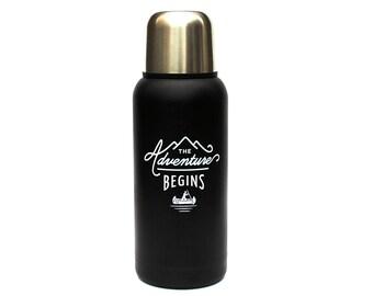 The Adventure Begins Black Flask