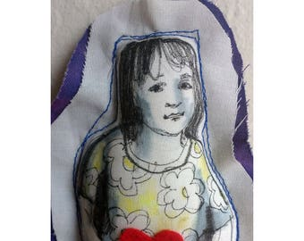 Art doll gift fabric textile soft Mother's day original drawing girl figure home decoration wall decor hand painted OOAK
