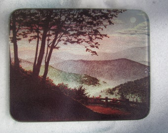 Vintage Counter Tray, Serene, Landscape Deco, Glass Tray, Vintage Landscape Glass Cutting Board Tray