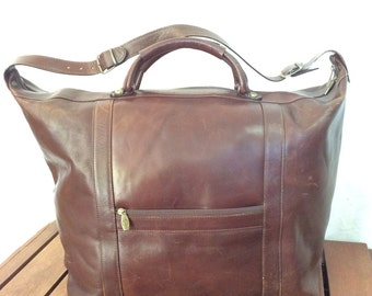 VALENTINA Huge Authentic Brown Leather Duffle Overnight Weekend Bag Made in Italy
