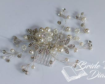 Wedding hair jewelry, transparent pearls and rhinestones bridal hair comb