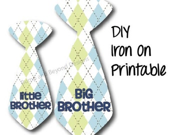 Big Brother Little Brother Sibling Shirts Ties set of 2 Printable Iron On Boys Tie Decals Digital INSTANT DOWNLOAD Baby Toddler Shirt 008