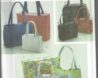 1990s Purse Pattern Simplicity Sewing Tote Handbag Purse Bag Uncut Women's Misses