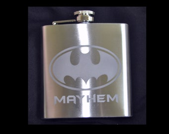 Etched Batman 6oz Stainless Flask  by Jackglass on Etsy
