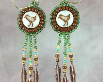 Earrings, bead embroidery, beaded, bird, copper, feathers,  southwestern