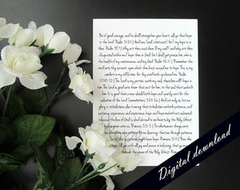 "Hope Scriptures Christian Quote Printable - Encouragement Inspirational 5x7"" Instant Digital Download Printable"