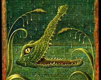 Crocodile art print, Lachrymal, Crocodile tears, Fantasy animal art, botanical details & optometry, Green water, Letter L, Jungle animal