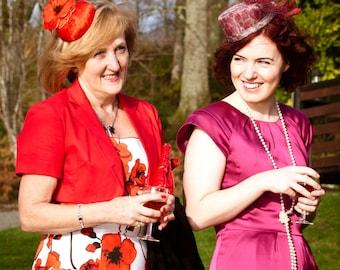 Cocktail hat Poppy field red kimono silk hat