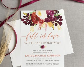 Fall Baby Shower Invitation with Fall in Love Autumn Floral Design - Bridal Shower Invitation - Wedding Shower Invitation
