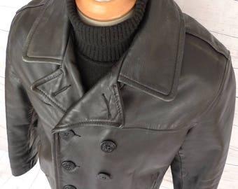 SCHOTT Us 740N Leather Naval Pea Coat Vintage Jacket PERFECTO PEACOAT Usa 40